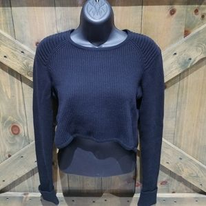 CABI RIBBED CROPPED BLACK HIGH LOW SWEATER